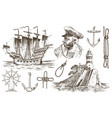 skipper with pipe lighthouse and sea captain vector image vector image