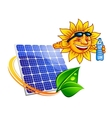 Solar panel with cartoon sun eco concept vector image