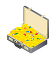 Suitcase with gold treasure Case with coins and vector image vector image