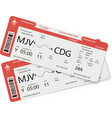 two boarding pass vector image vector image