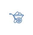 wheelbarrow line icon concept wheelbarrow flat vector image vector image