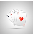winning poker hand four aces vector image vector image
