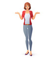 woman shrugging shoulders vector image vector image