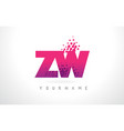zw z w letter logo with pink purple color and vector image vector image