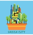 Green city eco concept with modern urban landscape vector image