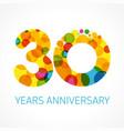 30 years anniversary circle colored logo vector image vector image