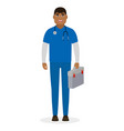 a man doctor is holding a first aid kit ambulance vector image vector image