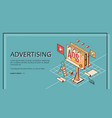 advertising company isometric website vector image vector image