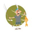 American Indian holding a fishing rod and fish vector image vector image