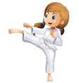 An energetic young woman doing karate vector image vector image