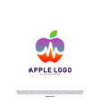 apple with medical pulse logo concept health vector image vector image