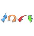 arrows set colored hand drawn sketch vector image vector image