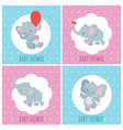 baby shower invitation cards with cute cartoon vector image vector image