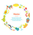 cartoon symbol of mexico banner card circle vector image vector image