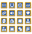 casino icons set blue square vector image