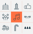 christmas icons set with gauntlet cake truck vector image vector image