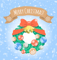 Christmas Wreath on Snowy Background vector image vector image