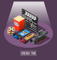 cinema time background concept vector image vector image