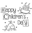 collection style children day hand draw vector image vector image