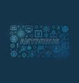 computer antivirus outline blue horizontal vector image