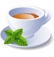 cup tea with mint vector image vector image