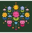 cute cartoon flower characters stylized nature vector image vector image