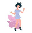 dancing brunette girl and decorative foliage vector image vector image