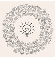 doodle education icons vector image vector image