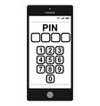 entering a pin code on a smartphone pin vector image vector image