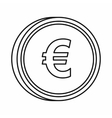 Euro sign icon outline style vector image vector image