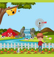 farmer at the rural farm landscape vector image vector image
