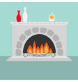 Fireplace with fire Vase set and clock Flat design vector image