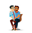 gay couple two hugging men same sex vector image