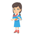 girl eating sausage and fried egg for breakfast vector image vector image