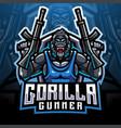 gorilla gunners esport mascot logo vector image vector image