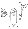 Happy Sausage Cartoon with a Pint of Beer vector image vector image