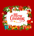 holiday greeting card with merry christmas wish vector image vector image