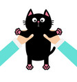 human doctor vet hands holding black cat funny vector image