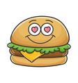 in love cheese burger cartoon vector image vector image