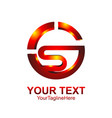 letter s logo design template colored red orange vector image