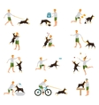 Man Dog Training Playing Pet Stick vector image vector image