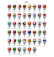map marker set with flags asia vector image