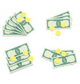 money banknote fan and golden coins vector image vector image