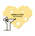 Mouse and heart shape cheese vector image
