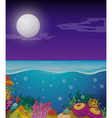 Nature scene with fullmoon over the ocean vector image vector image