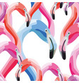 pink blue flamingo head seamless pattern white vector image vector image