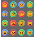 pumpkins for halloween flat icons 19 vector image vector image