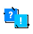 question and exclamation symbols in blue squares vector image