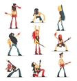 Rock Band Members Funny Characters Set vector image vector image