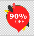 sale 90 off discount price tag icon on isolated vector image